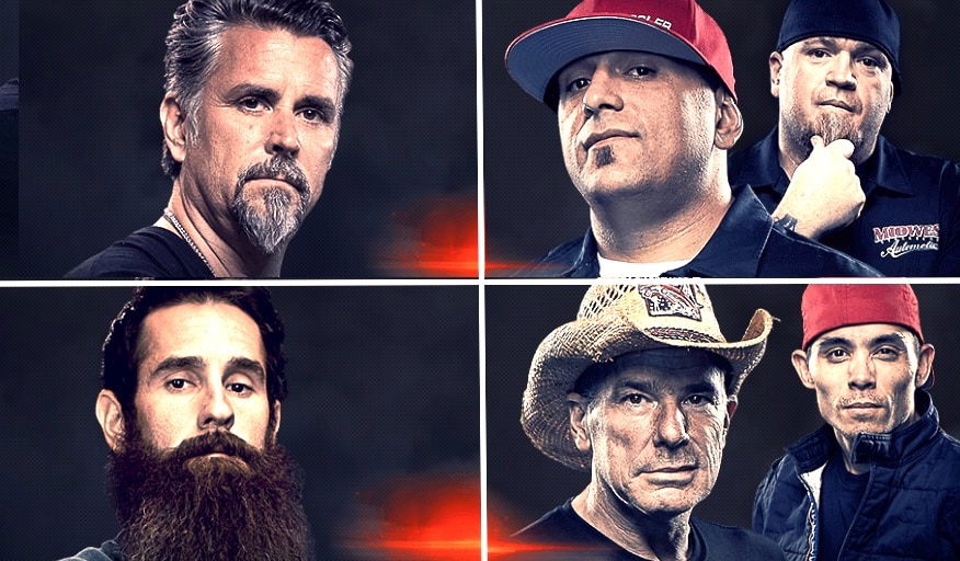 The contenders in the Fast N' Loud Vs. Street Outlaws Mega Race