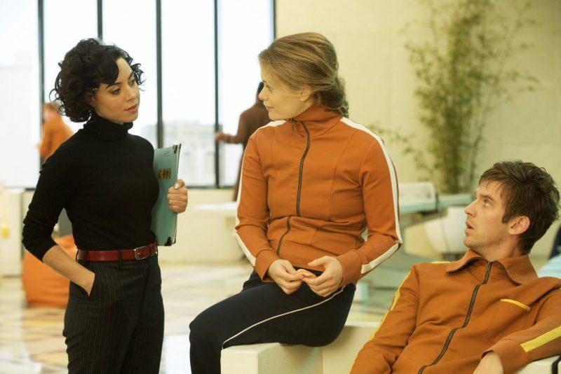 "LEGION – ""Chapter 6"" – Pictured: (l-r) Aubrey Plaza as Lenny ""Cornflakes"" Busker, Rachel Keller as Syd Barrett, Dan Stevens as David Haller. CR: Michelle Faye/FX"
