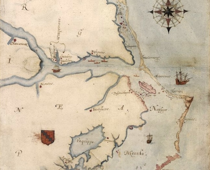 A map showing the location of the Roanoke Colony, drawn by John White in 1585