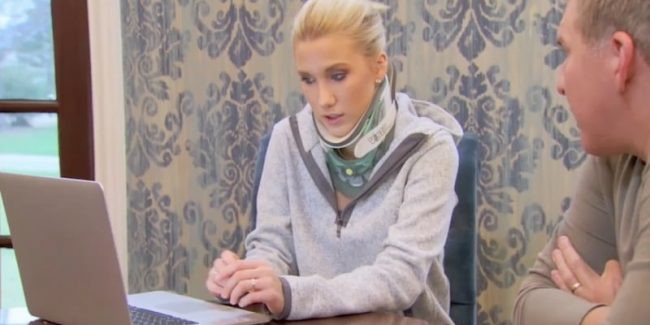 Savannah works on her fashion line while still wearing a neck brace on Chrisley Knows Best
