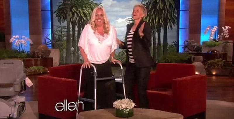 Stephanie dancing with Ellen DeGeneres on her show just two months after her accident