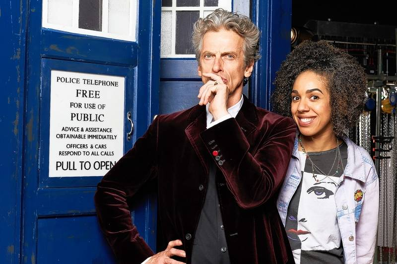 Peter Capaldi as Doctor Who and Pearl Mackie as his companion Bill Potts