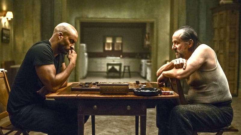 The checkers game on American Gods Episode 2