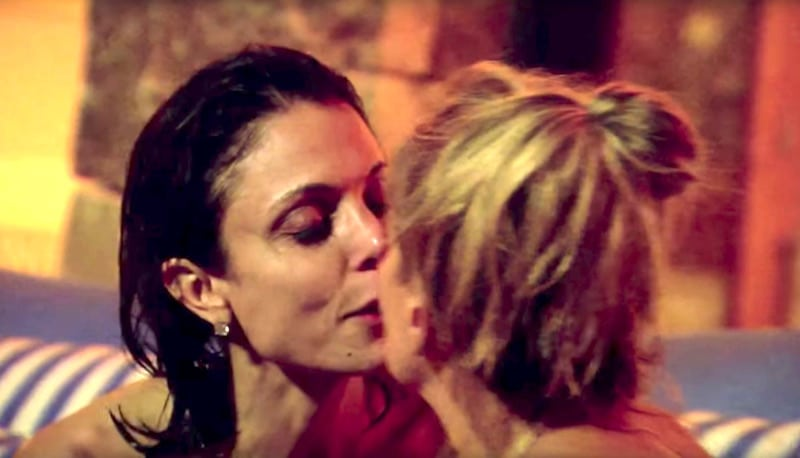 Bethenny kisses a sozzled Sonja on this season's Real Housewives of New York City