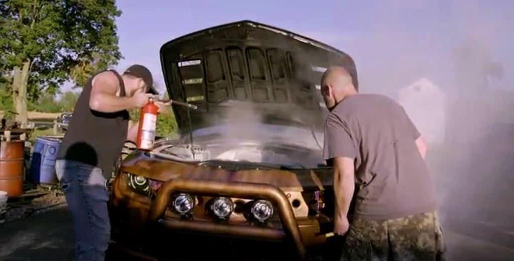 bootlegger on fire 1024x520 - Road Hauks: The Copper Camaro SS Moonshiner's edition