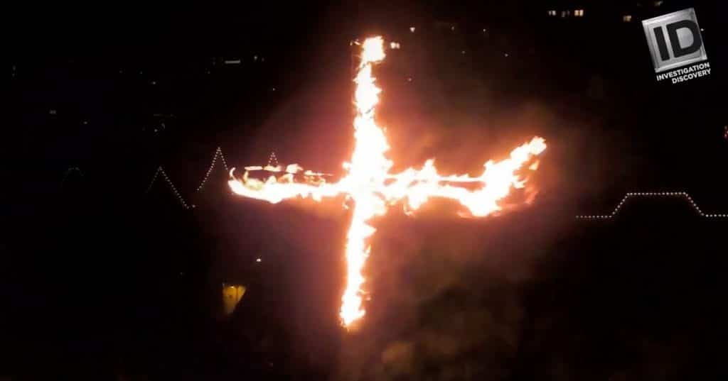 A burning cross used to intimidate