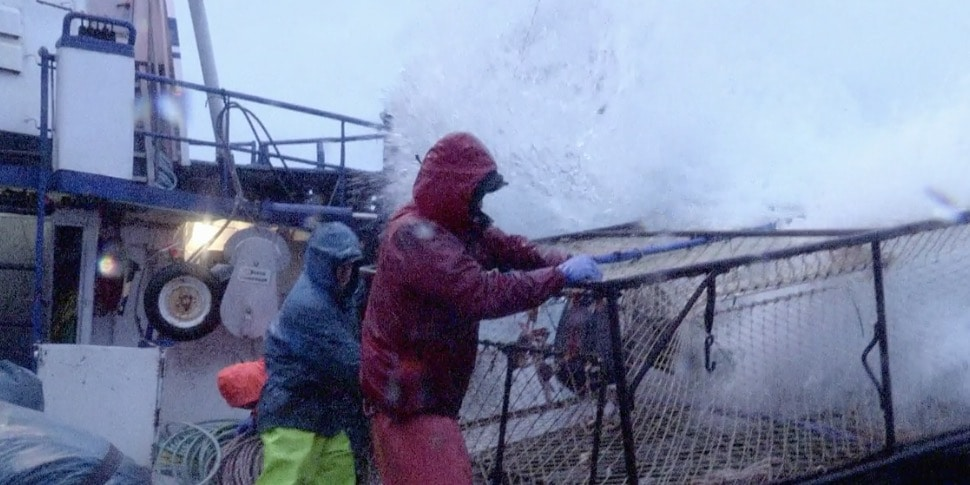 A big wave hits on Deadliest Catch