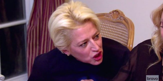 Dorinda argues with Sonja at Ramona's dinner in the Hamptons on this week's RHONY