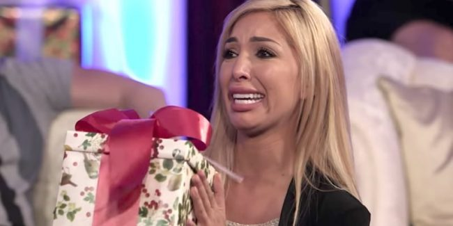 Farrah Abraham breaks down as she takes part in the first challenge on Marriage Boot Camp: Reality Stars Family Edition