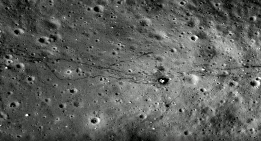 The Apollo mission footprints and moon buggy tracks can still be seen