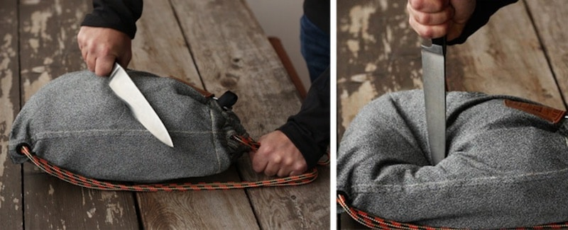 The LocTote flak sack is slash-proof so can't be cut through with a knife