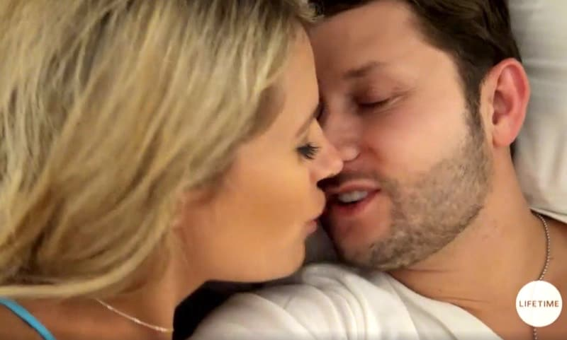 Ashley Petta and Anthony D'Amico kiss as they share their first night together on Married At First Sight