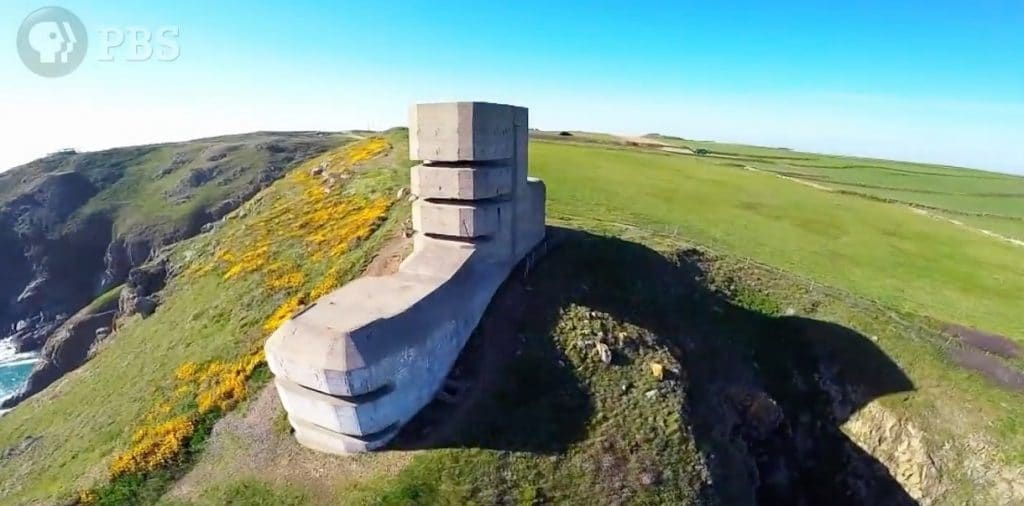the Channel Islands were heavily fortified by the Nazis, this image shows a large concrete coastal emplacement