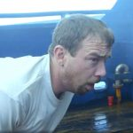 Saga deckhand Hannes Huswick wretches violently after inhaling smoke on this week's Deadliest Catch