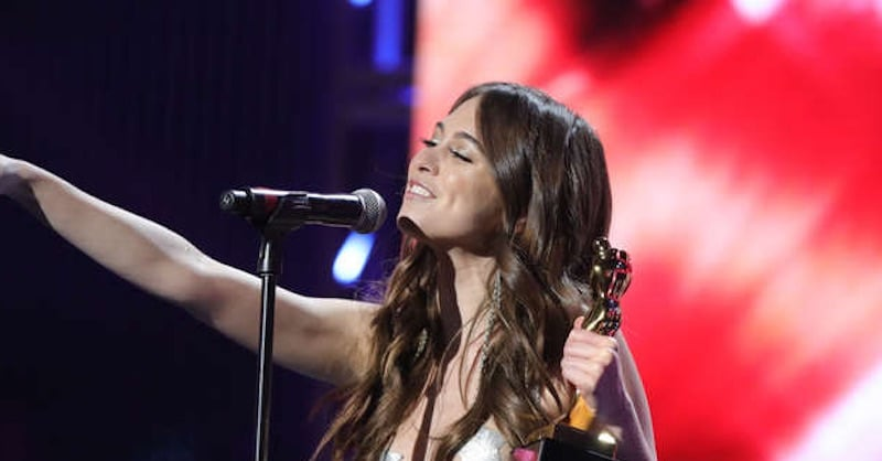 """Riley Reid during the ceremony at the 2017 AVN Awards, known as the """"Oscars of porn"""""""