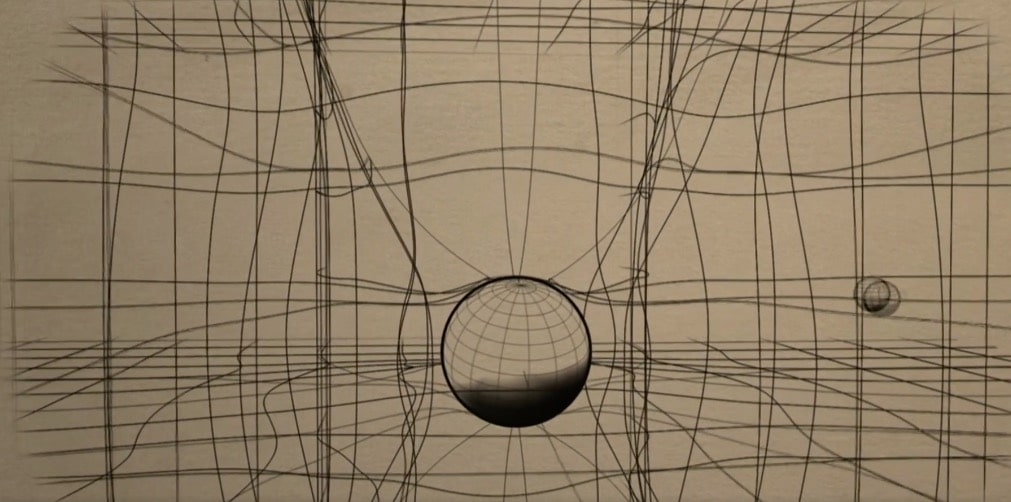 Space-time is distorted by objects and we experience this as gravity