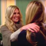 Tinsley Mortimer greets Sonja Morgan as she moves in on RHONY