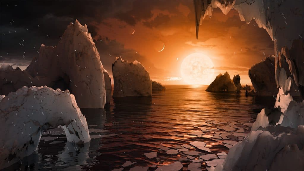 Aristist's concept of landing on TRAPPIST-1f, one of the exoplanet in the TRAPPIST-1 planetary system. The system is only 40 light years from Earth and has eight Earth-sized planets.