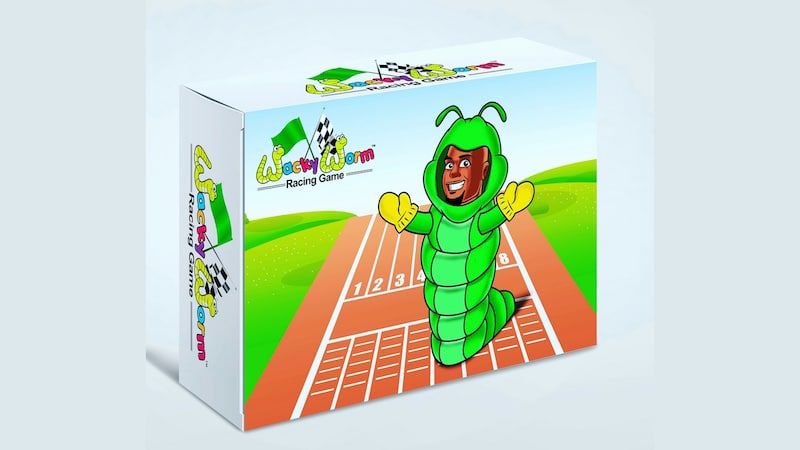 The pack, the Wacky Worm Racing Game comes in, with a cartoon of Cedric on the front