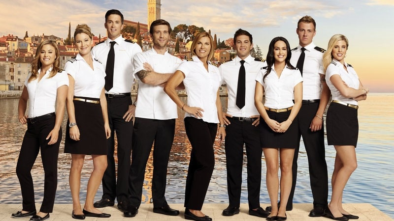 The Below Deck Season 2 cast, making up the crew of the Sirocco