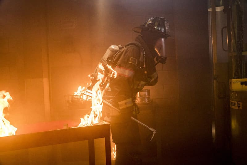 Kelly Severide inside a blazing building