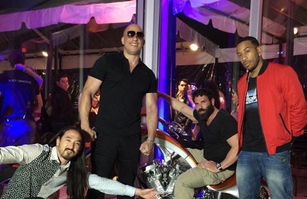 Vin Diesel, Ludacris and Steve Aoki