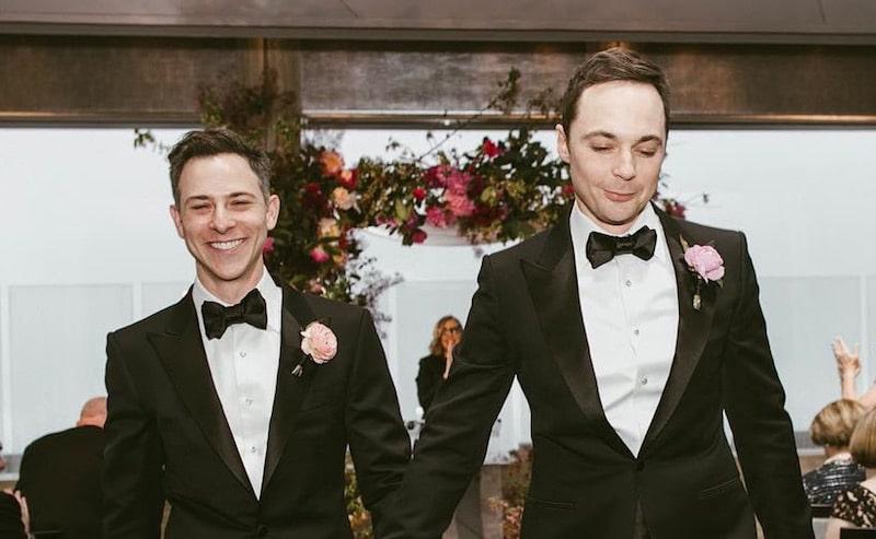 Jim Parsons and Todd Speiwek at their wedding