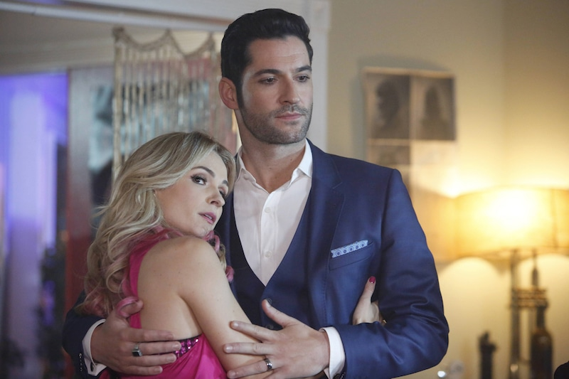Lindsey Gort as stripper Candy and Tom Ellis as Lucifer in this week's spring premiere