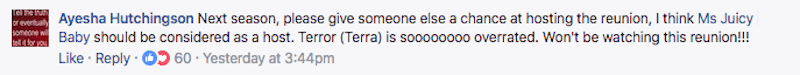 Screengrab of Facebook comment on Little Women: Dallas Facebook page