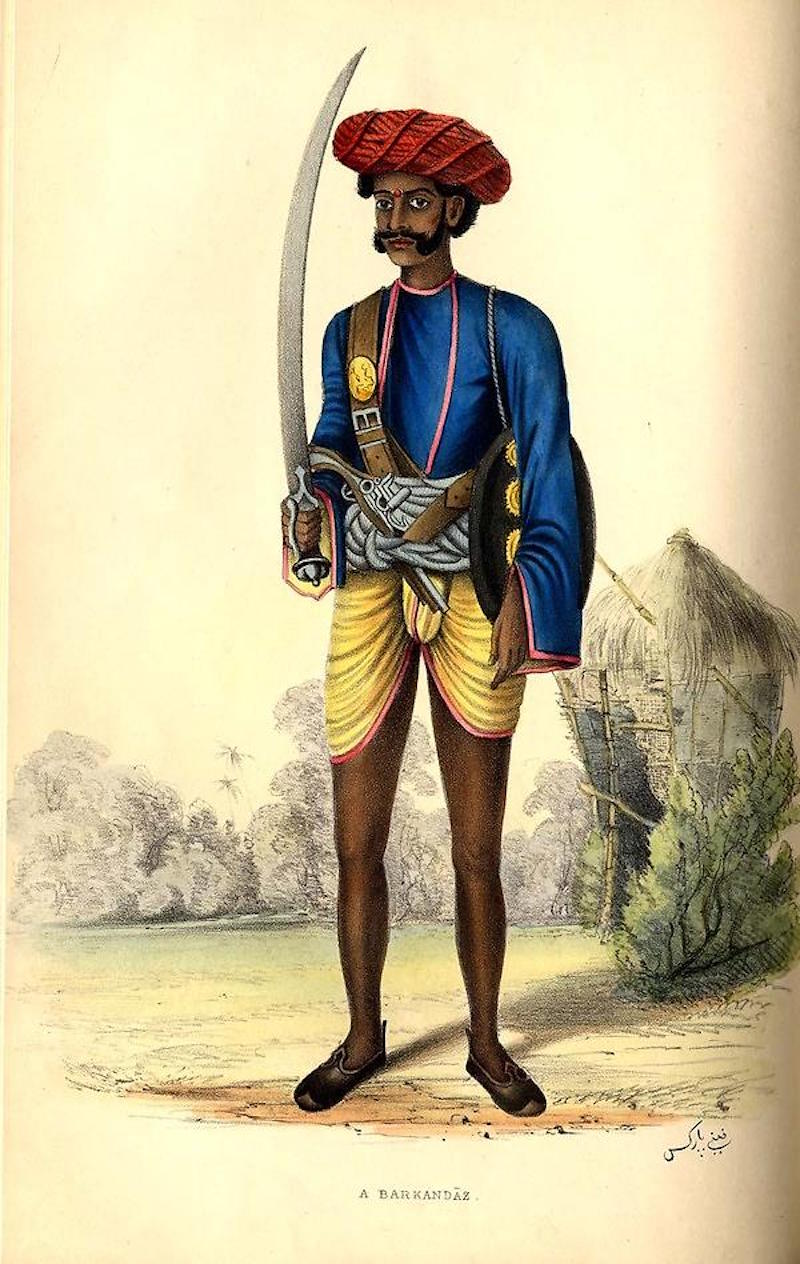 A drawing of a man, identified as an Indian policeman, holding a talwar-like sword