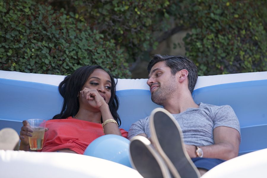 Peter And Rachel Pictured Relaxing On A Couch The Bachelorette
