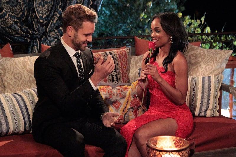 Nick Viall giving Rachel Lindsay the first-impression rose on The Bachelor