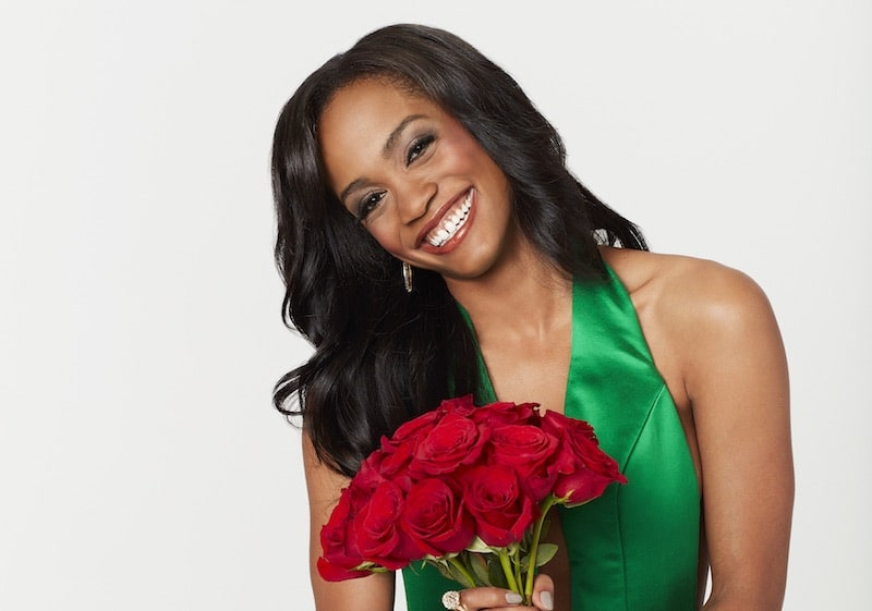 Rachel holding a bunch of roses to promote The Bachelorette