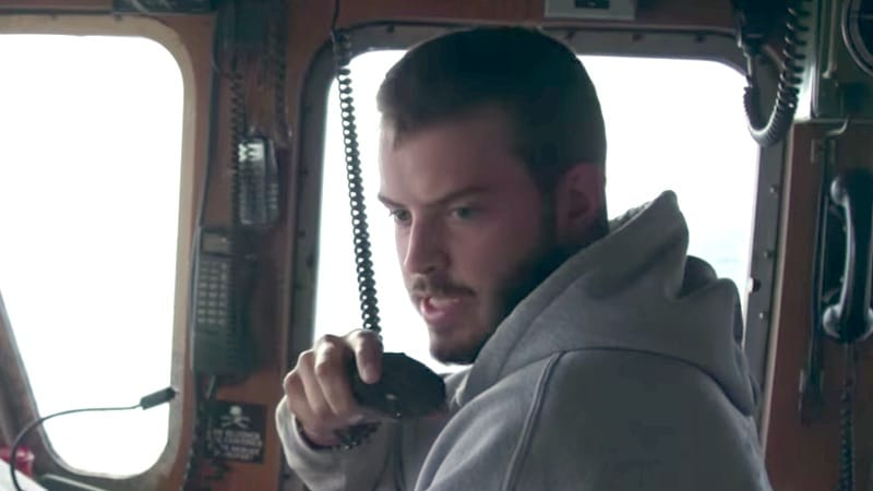 Sean Dwyer on the radio to his crew on Deadliest Catch