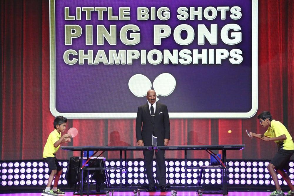 Sid and Nandan Naresh playing table tennis on Little Big Shots