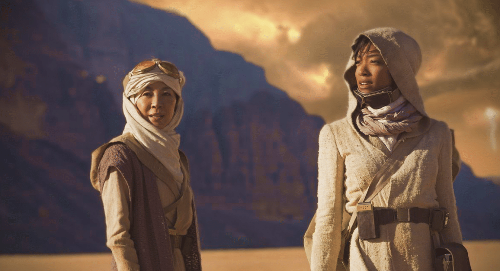 Star Trek: Discovery with SonequaMG as First Officer Michael Burnham and Michelle Yeoh as Captain Philippa Georgiou.