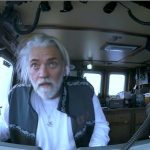 Deadliest Catch footage of Captain Wild Bill staring out of his cockpit in awe at the huge rogue wave