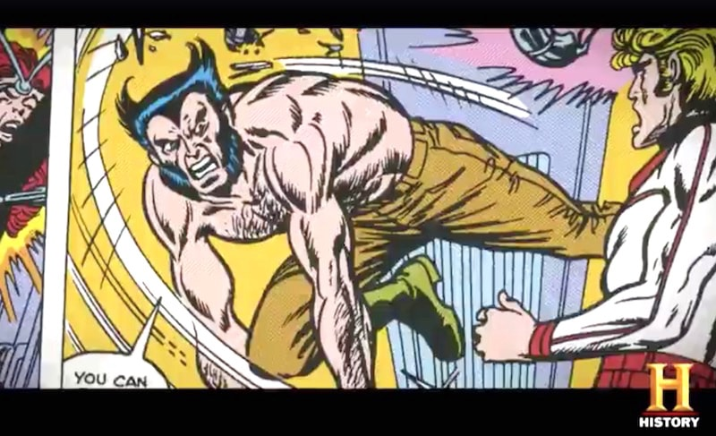 Wolverine in a still from the second part of History's Superheroes Decoded, titled 'American Rebels'