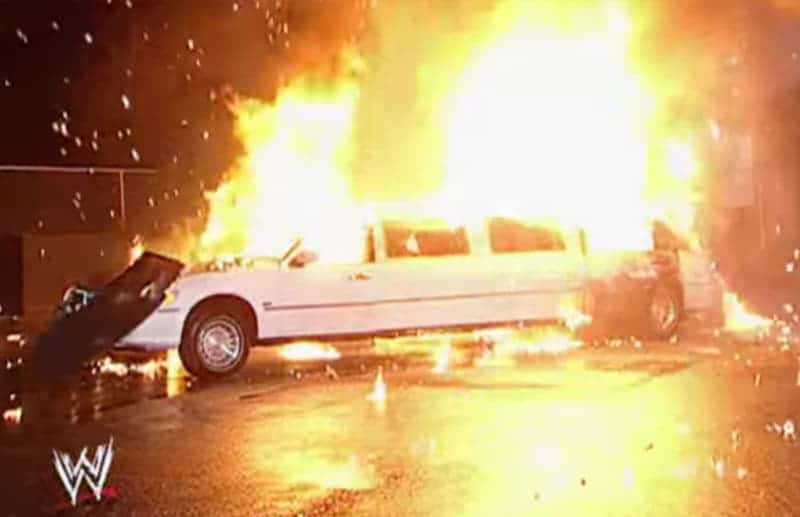 Vince McMahon's limousine erupting in flames