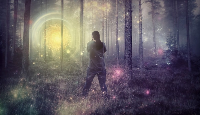 Psychadelic image of a man in a forest as if on drugs