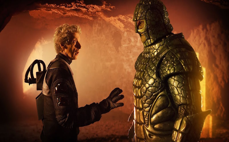 Peter Capaldi as Doctor Who talking to an Ice Warrior