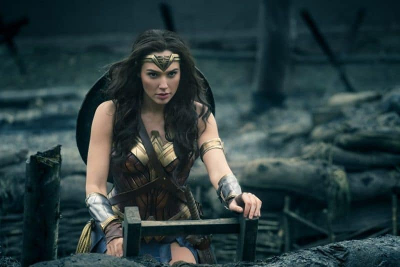Wonder Woman (Gal Gadot) leaving the trenches of war and headed into battle