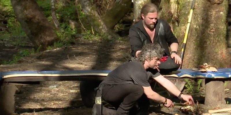 Matt cooks whilst Noah looks on