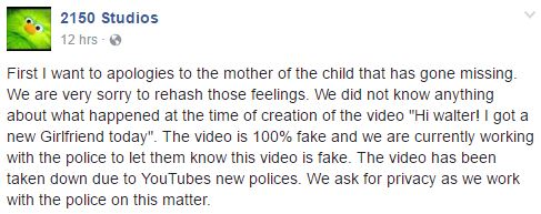 The video was a bit of dark humor and unrelated to the case, the people who made it apologised