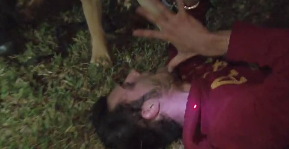 Cops - man on ground being targeted on head by police and dog grabbing his arm
