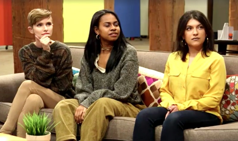 Three of the Girl Starter competitors sitting on a couch