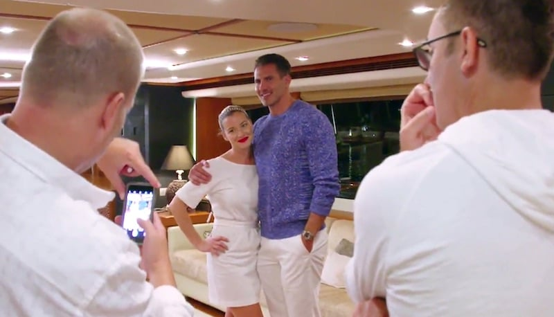 Hannah Ferrier posing for a photo with tycoon Jason Ziegler on Below Deck Med
