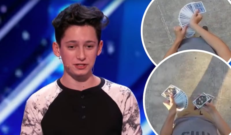 Henry on AGT and two insets of him performing cardistry tricks