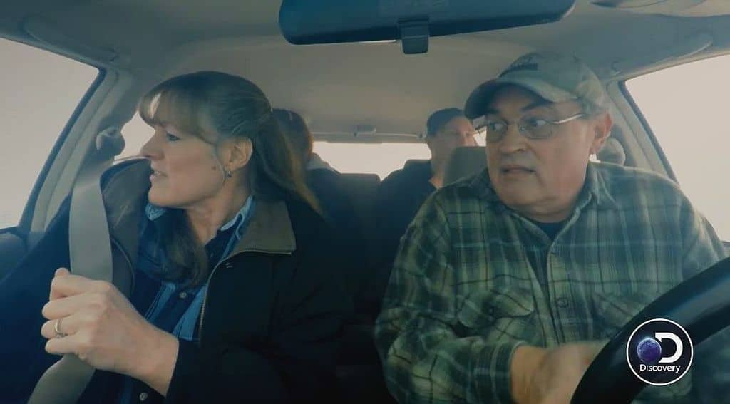 The Hanson family in a car trying to flee the fake wild fire on Homestead Rescue