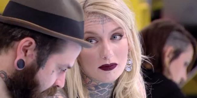 Eva looks at Ulyss on Ink Master: Shop Wars
